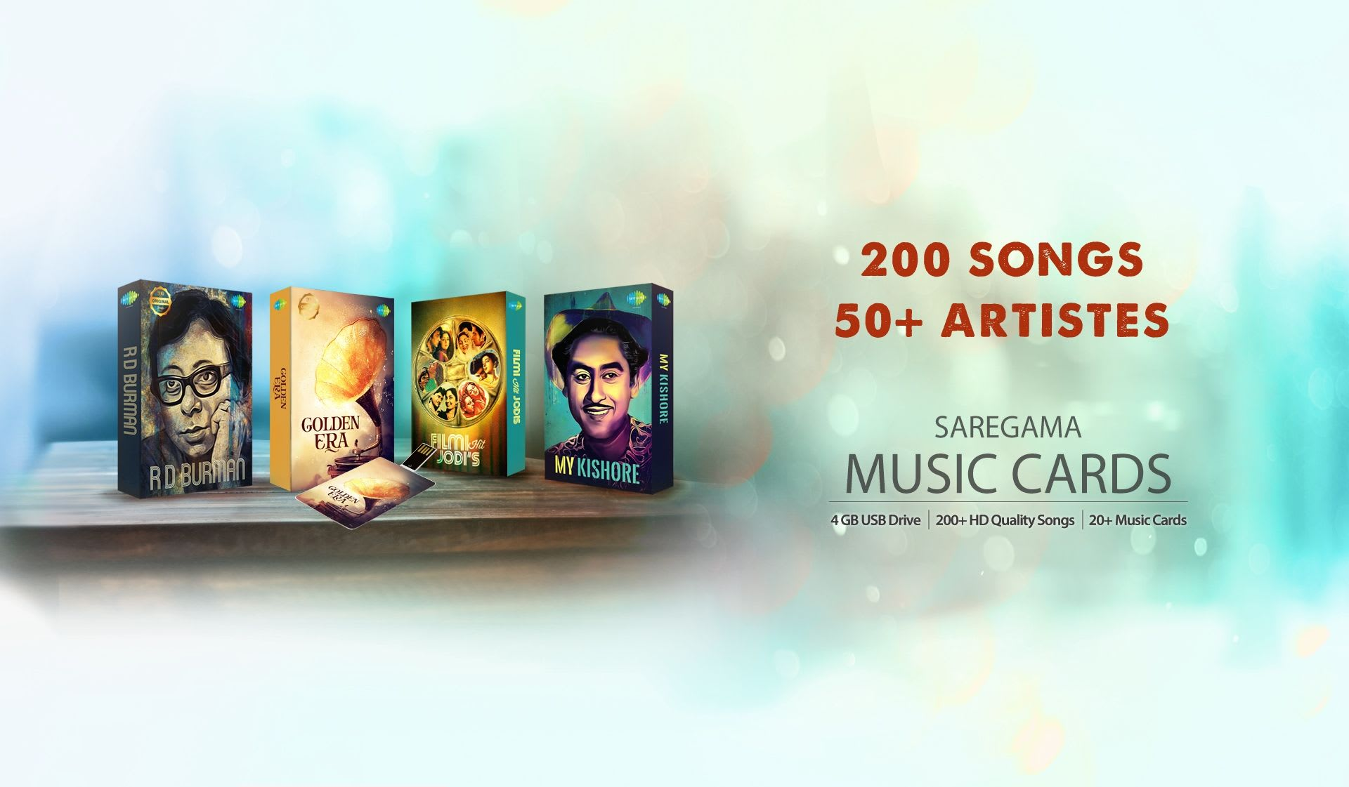 Music Card - 200 Songs, 50 + Artiste